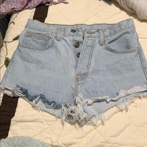 brandy light wash jean shorts